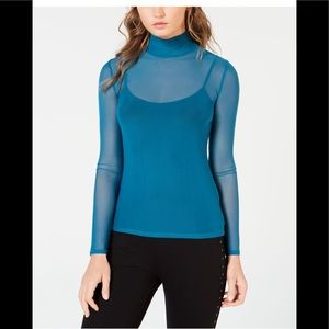 GUESS Forbidden Sea Mock Neck Mesh Long Sleeve Top